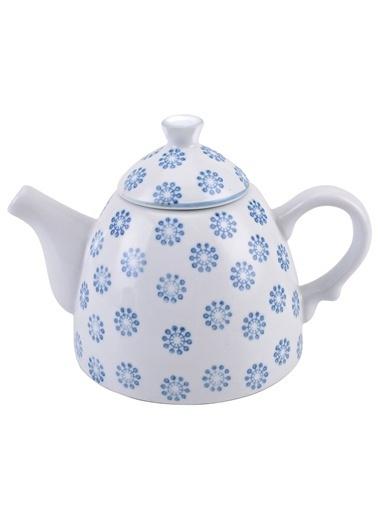 Warm Design Çiçek Desenli Çaydanlık Mavi